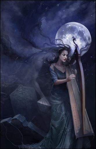 Fairy and harp
